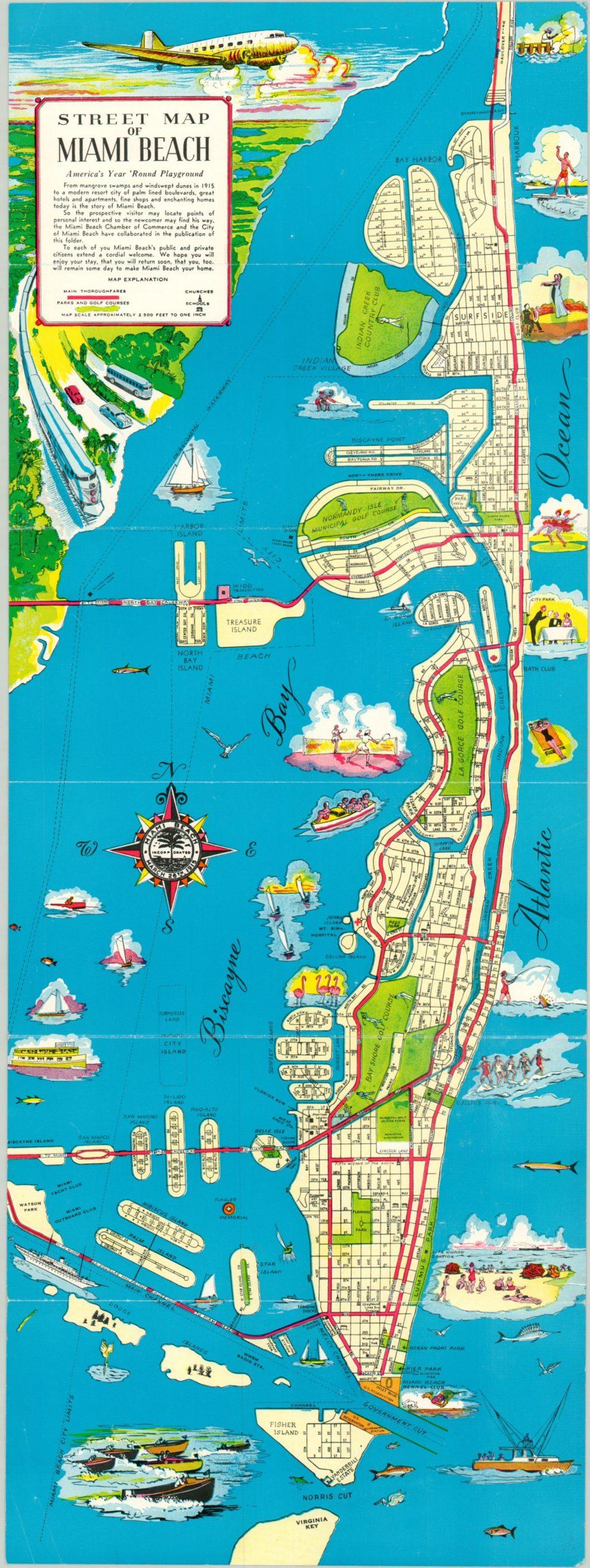street map of miami beach | curtis wright maps