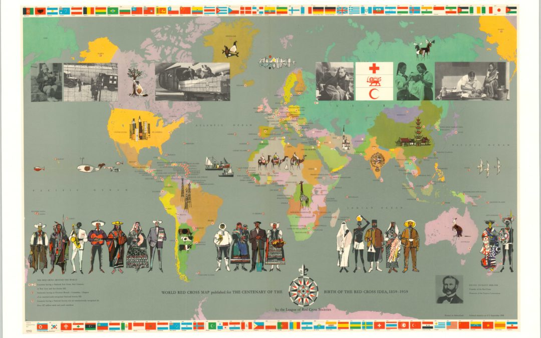 [2 Pictorial World Maps published for the centenary of the Red Cross]