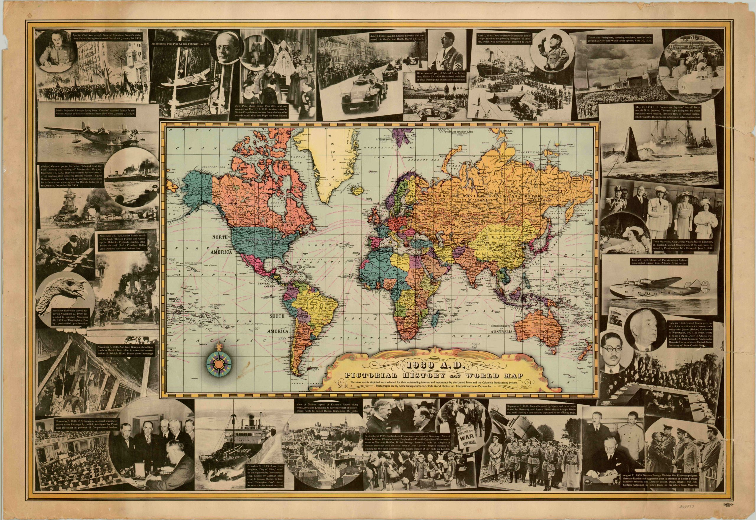 Image of: 1939 A D Pictorial History And World Map Curtis Wright Maps